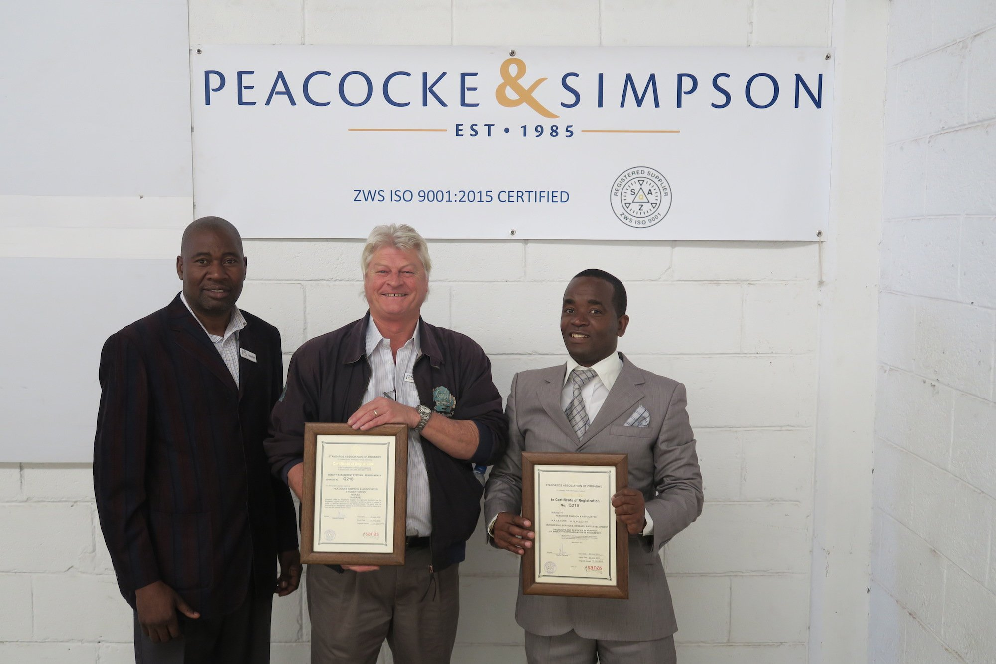 Peacocke & Simpson certificates of ISO registration