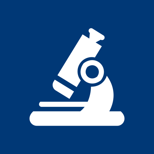 Graphic for microscope imaging of recovered free gold in white on a blue background